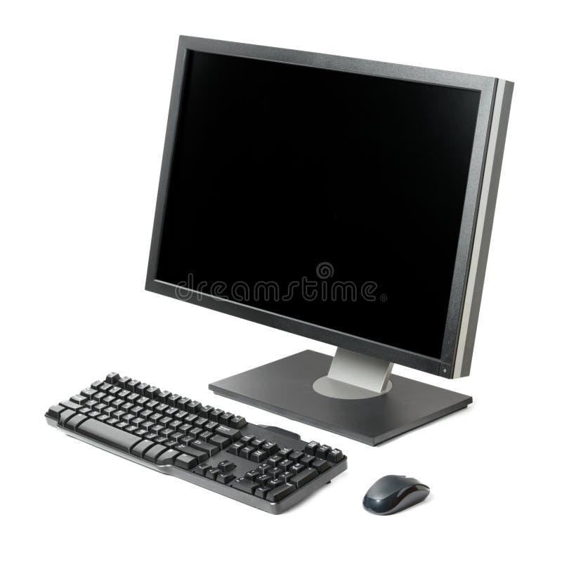 Poste de travail d'ordinateur d'isolement image stock