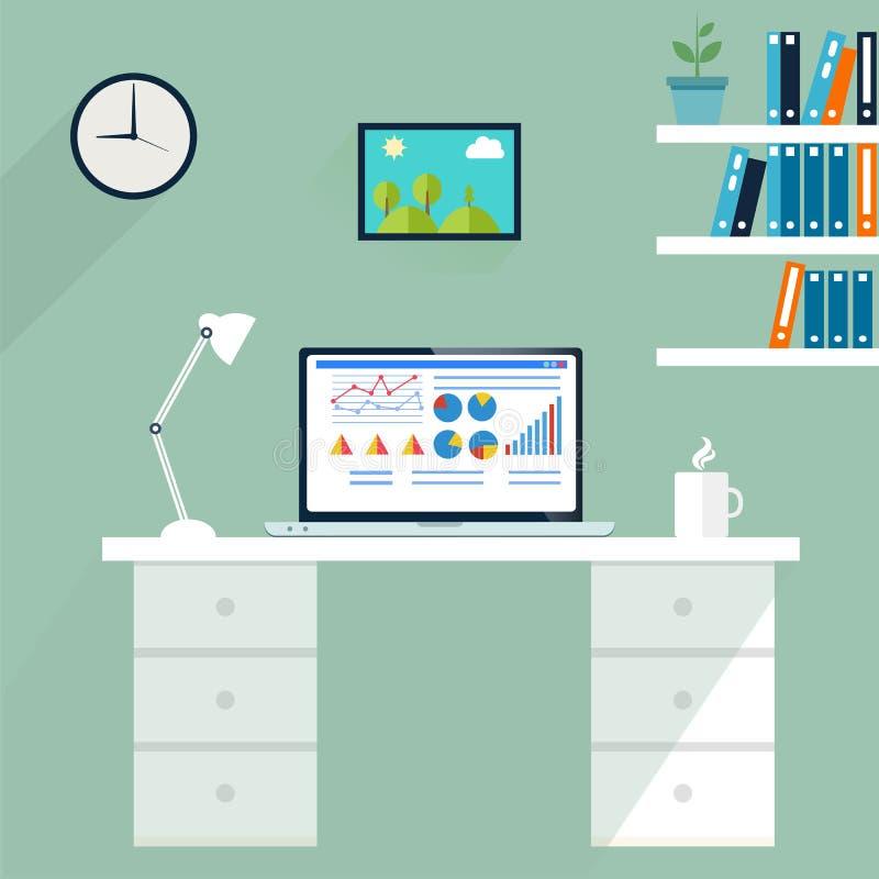 Poste de travail de bureau Ordinateur dans l'espace de travail, vecteur illustration de vecteur