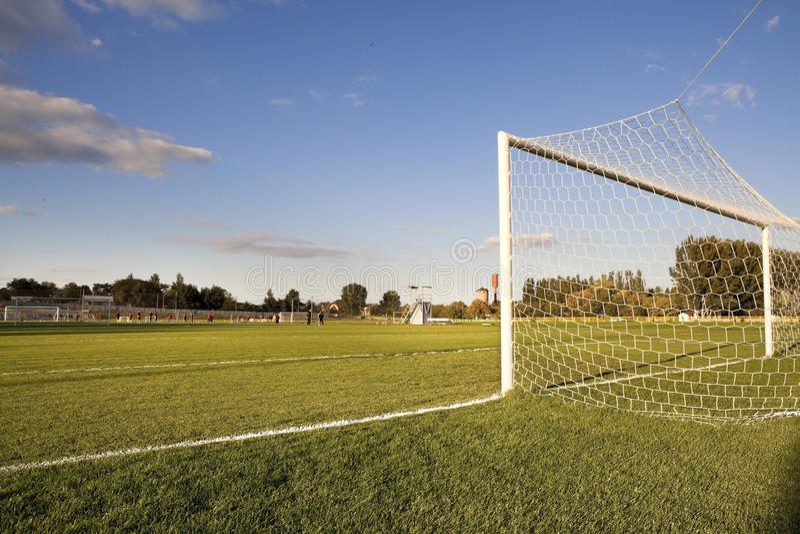 Poste del campo de fútbol fotografía de archivo libre de regalías