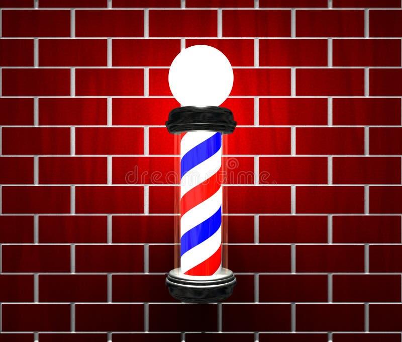 Poste del peluquero en una pared stock de ilustración