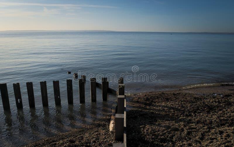 Poste di legno erose nel mare immagine stock