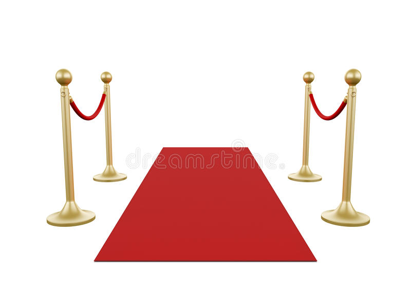 Poste dourado e tapete vermelho ilustração do vetor