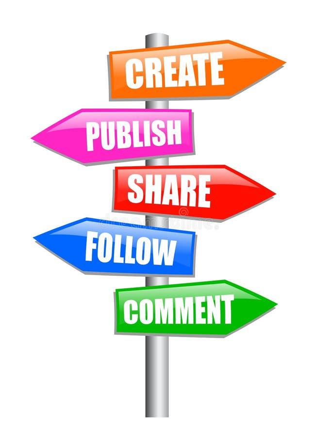 Poste indicador Blogging ilustración del vector