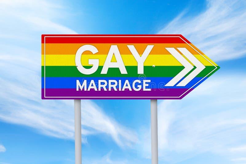 Poste indicador colorido del matrimonio homosexual foto de archivo