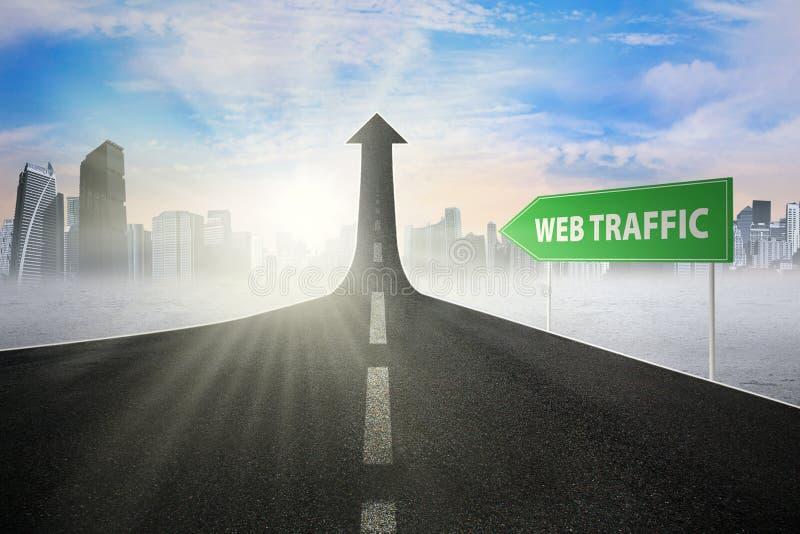 Poste indicador con el texto del tráfico del web libre illustration