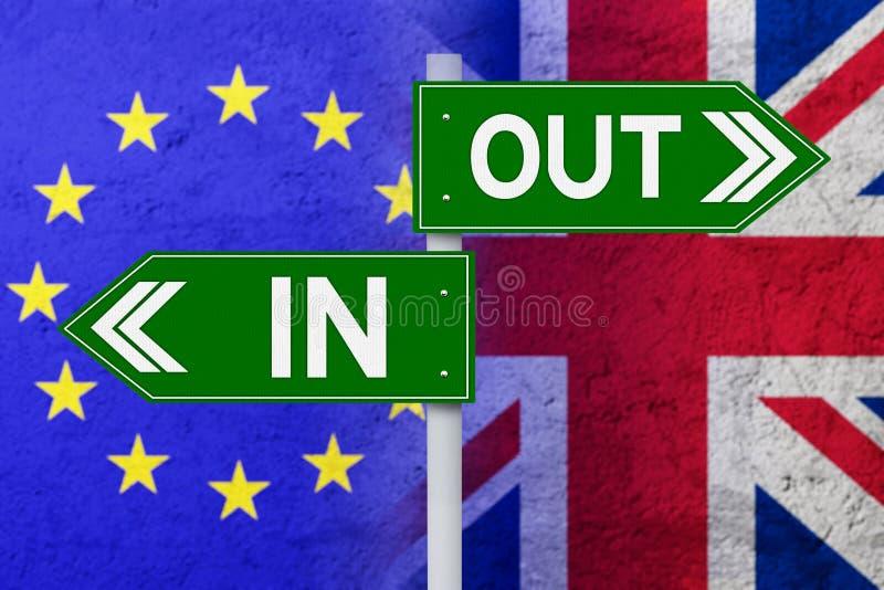 Poste indicador con la bandera de la UE y de Reino Unido stock de ilustración