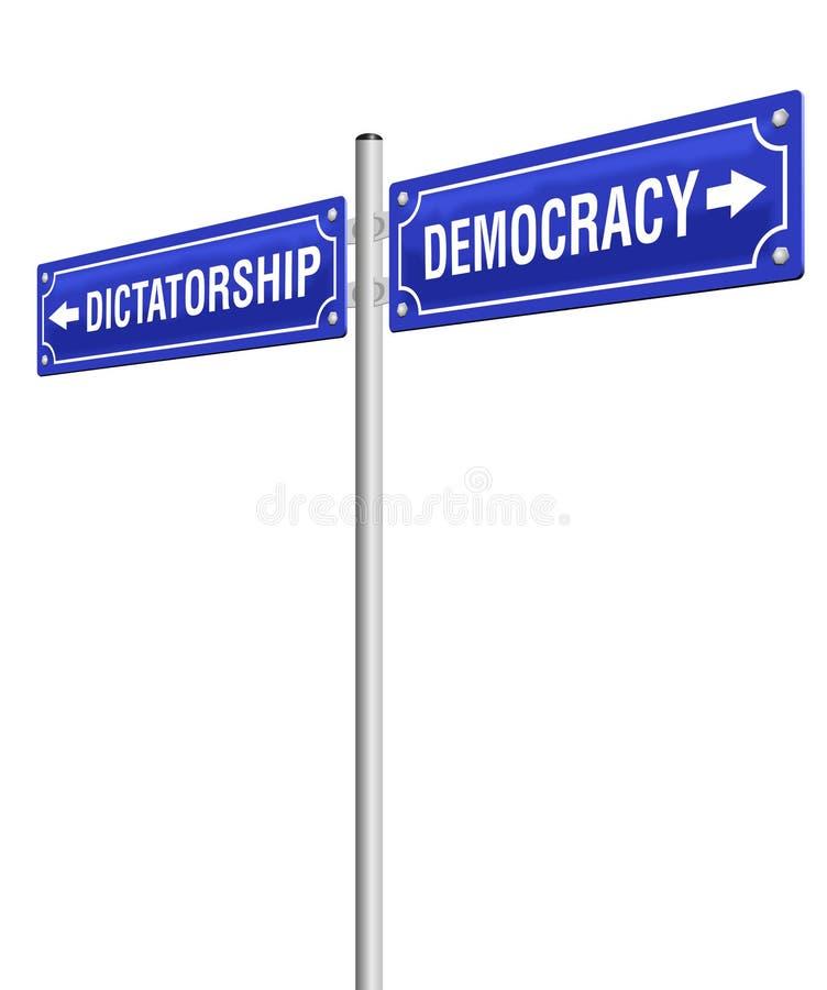 Poste indicador de la democracia de la dictadura libre illustration