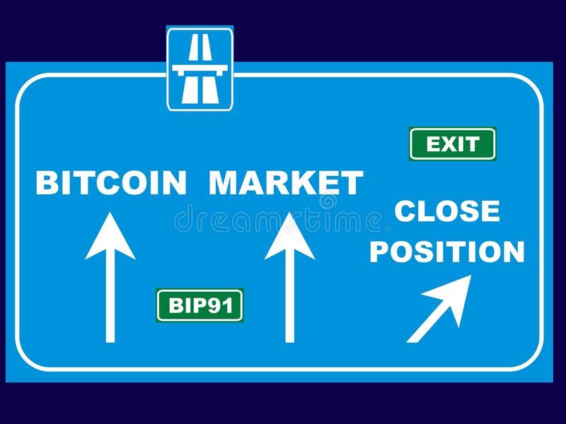 Poste indicador de la dirección del mercado de Bitcoin ilustración del vector