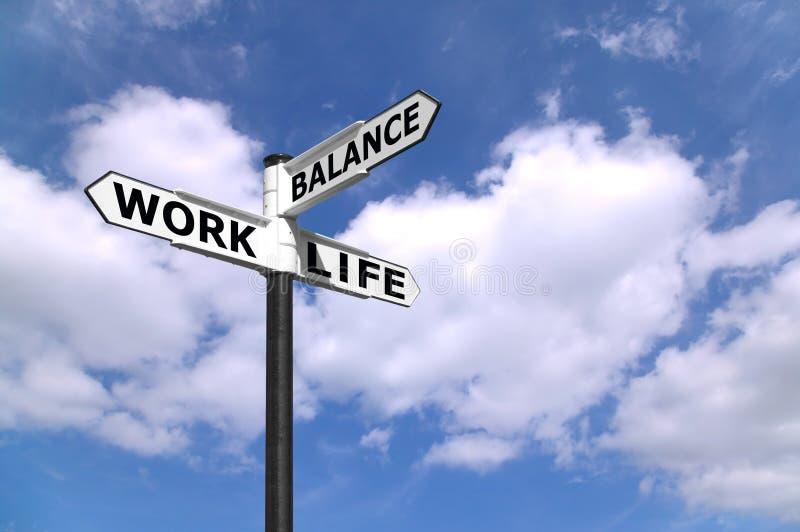 Poste indicador del balance de la vida del trabajo fotografía de archivo