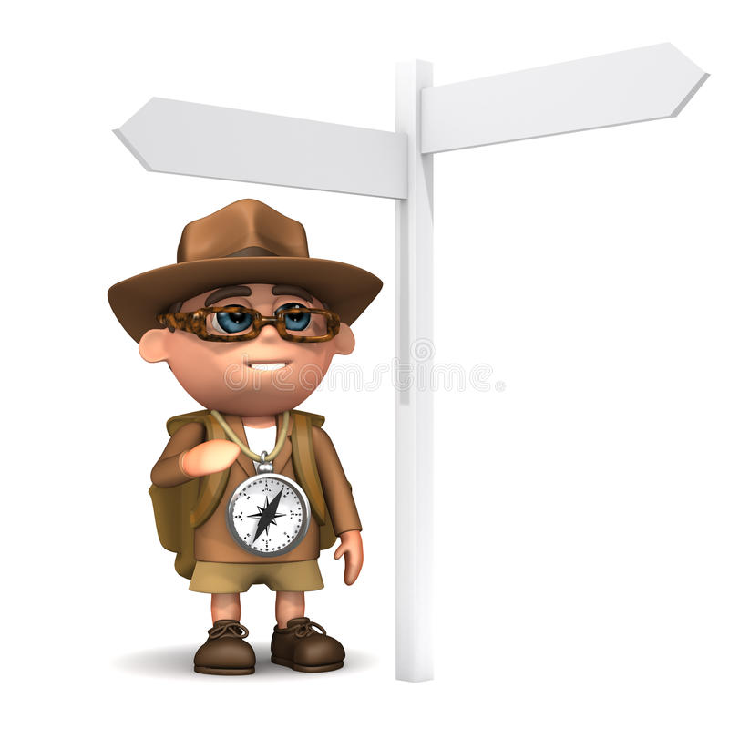 poste indicador del explorador 3d ilustración del vector
