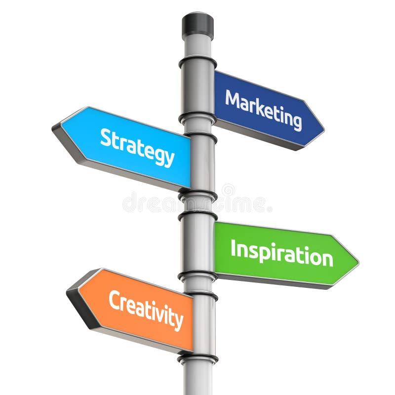 Poste indicador del negocio para la dirección (márketing, estrategia, inspiratio stock de ilustración