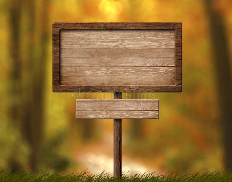 Poste indicador doble de madera con el solo fondo del bosque del polo y del otoño ilustración del vector