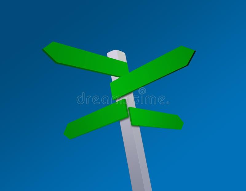 Poste indicador en blanco de las direcciones ilustración del vector