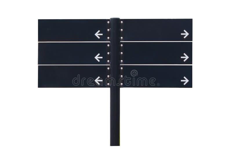 Poste indicador en blanco del negro de la dirección aislado en el fondo blanco fotografía de archivo