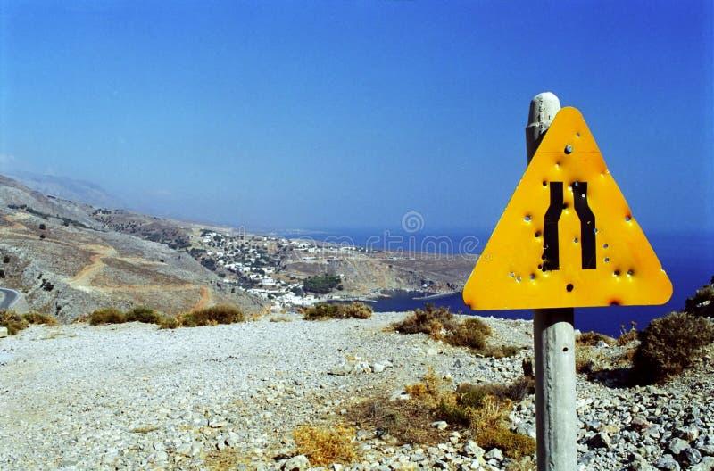Poste indicador en Crete imagen de archivo