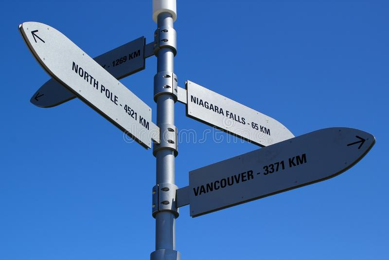 Poste indicador en la etapa de aterrizaje que dirige al Polo Norte y caídas y Vancouver del niagra foto de archivo