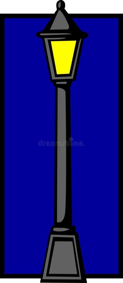 Poste ligero de calle en la noche stock de ilustración