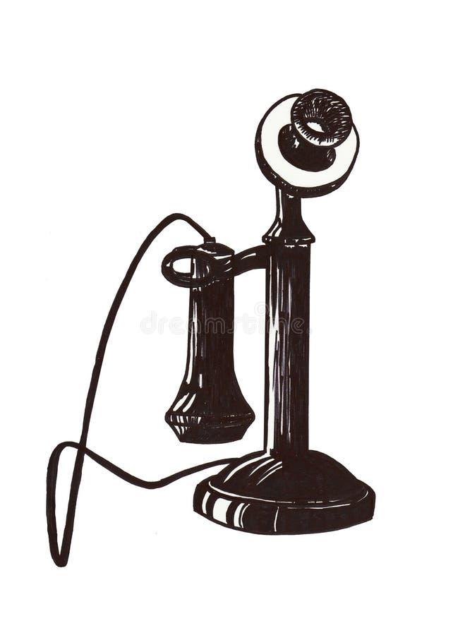 Poste téléphonique de cru sur un fond blanc Antiquités de figure handmade illustration libre de droits