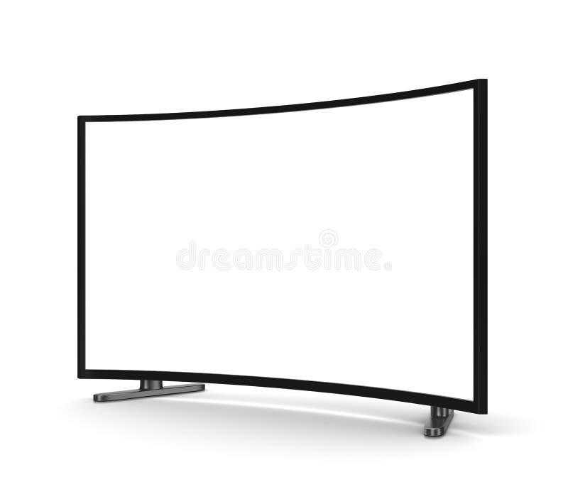 Poste TV avec l'écran incurvé par blanc illustration stock