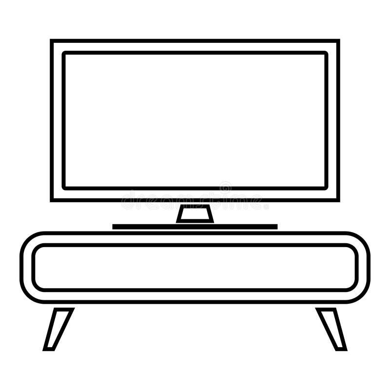 Poste TV sur l'image plate de style de concept de table de chevet de commode de placard d'icône de couleur d'ensemble d'illustrat illustration libre de droits
