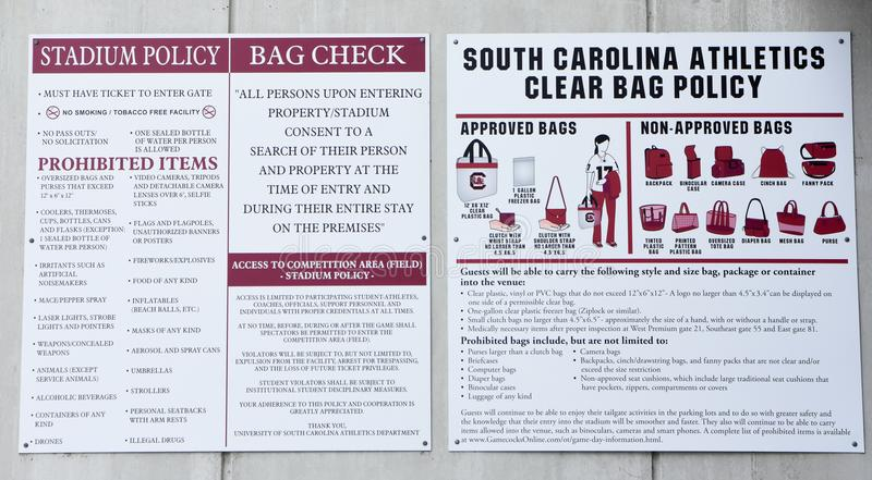 Posted Rules and Regulations of Williams Brice Stadium, Columbia, SC royalty free stock photography