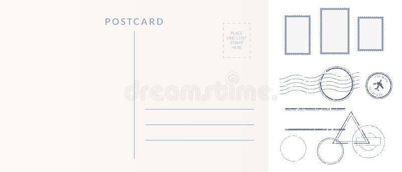 Postelementsatz: leere Postkartenrückseite, Briefmarken und Kennzeichenimpressen annullieren vektor abbildung