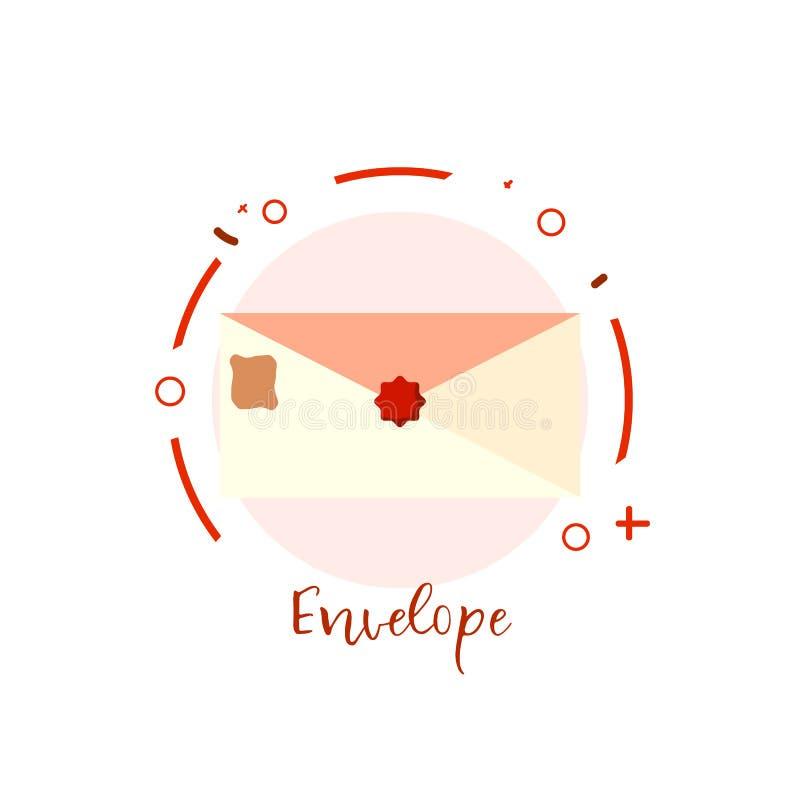 Postembleem op wit Gekleurde envelopknoop voor website vector illustratie
