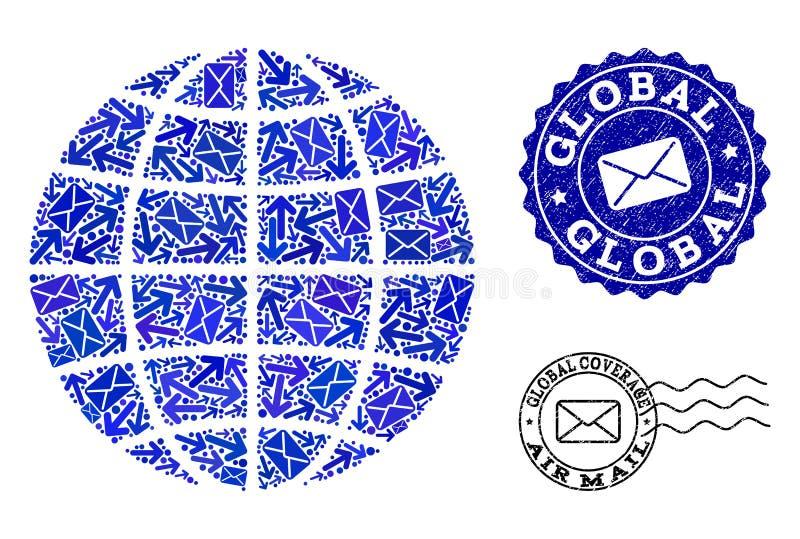 Posten verlegt Zusammensetzung von Mosaik-Kugel-und Bedrängnis-Stempeln lizenzfreie abbildung