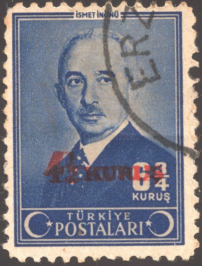 Postenstempel druckte die Türkei Mustafa Ismet Inonu - türkisches allgemeines und Staatsmann, denen als der zweite Präsident von  stockfoto