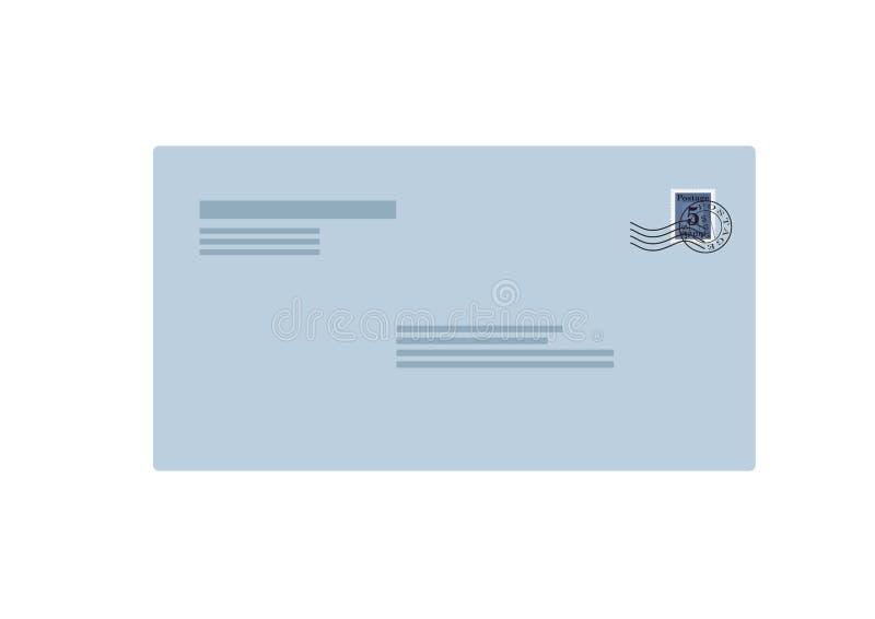 Postenvelop voorkant met postzegel geïsoleerd vectorbeeld royalty-vrije illustratie