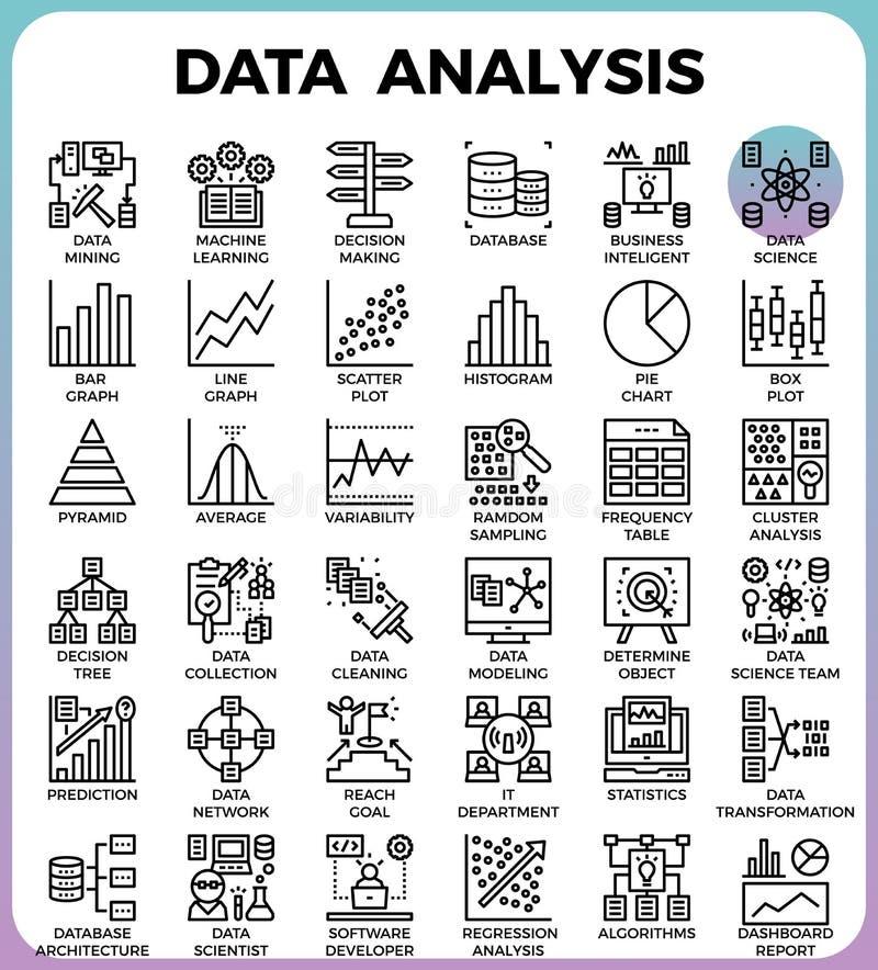 Postenzeile Ikonen des Datenanalyse-Konzeptes vektor abbildung