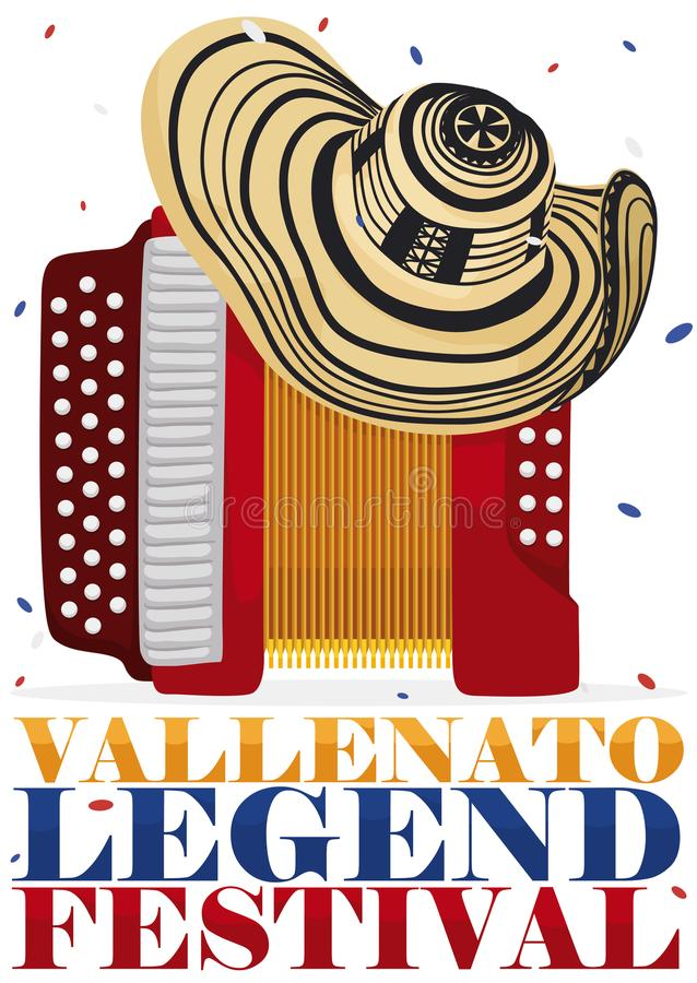 Traditional Vueltiao Hat over Accordion for Vallenato Legend Festival, Vector Illustration. Poster with accordion and traditional vueltiao hat under a confetti royalty free illustration