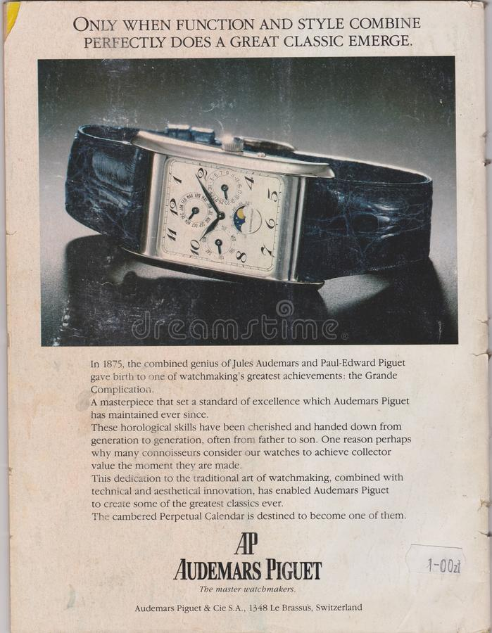 Poster advertising AP Audemars Piguet watch in the magazine from 1992, the master watchmakers slogan royalty free stock image