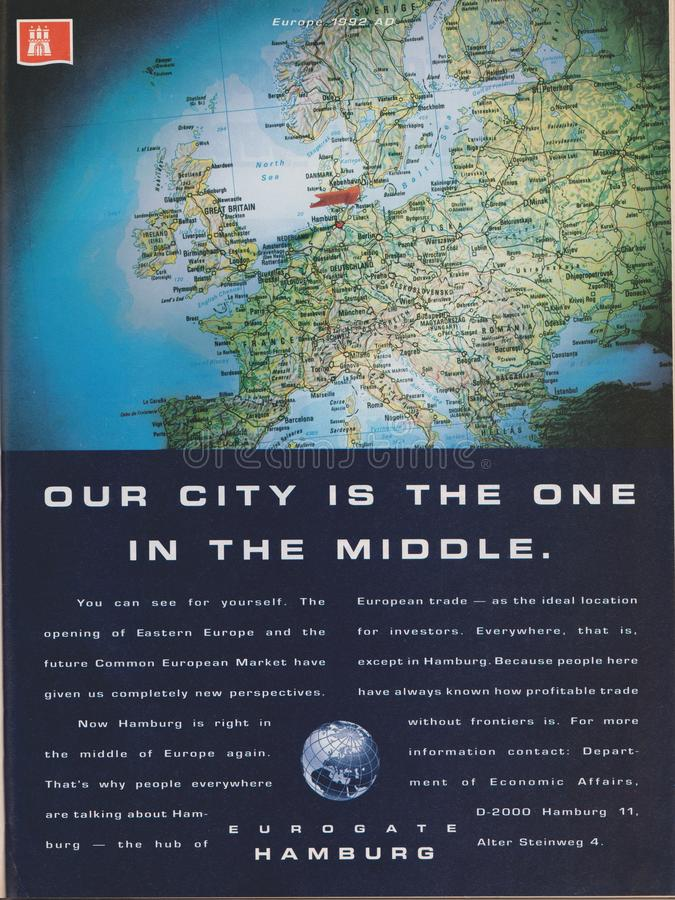 Poster advertising Eurogate Hamburg in magazine from 1992, Our city is the one in the middle slogan stock photography