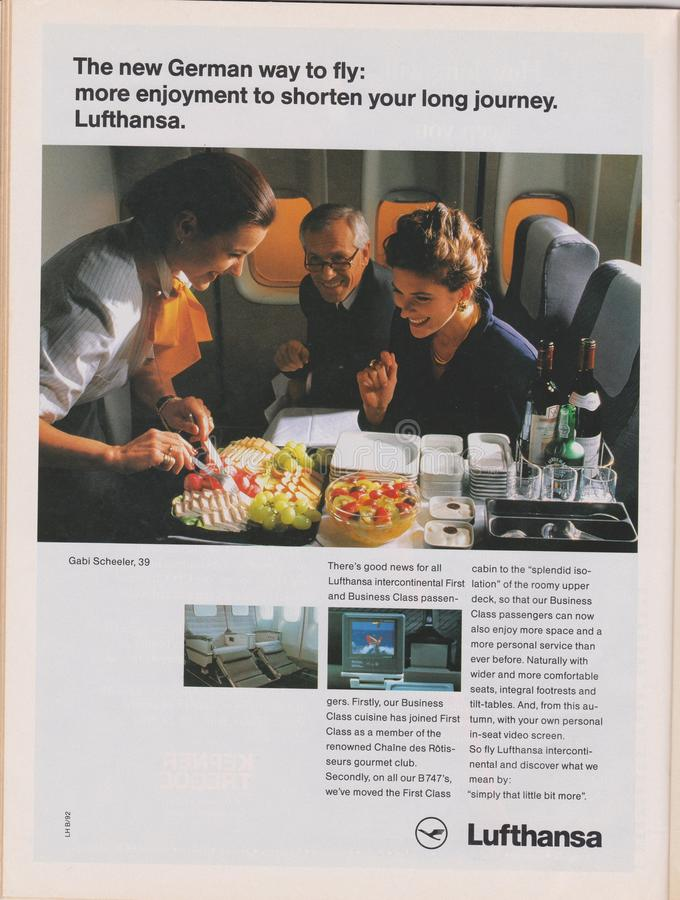 Poster advertising Lufthansa Airlines in magazine from 1992, The new German way to fly slogan royalty free stock photo