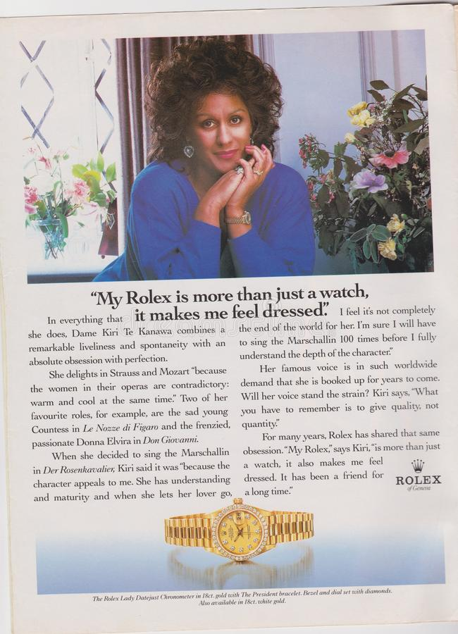 poster advertising Rolex watch in magazine from 1992, My Rolex is more than just a watch, it makes me feel dressed slogan stock photos