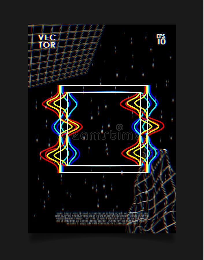 Poster for art exhibition or music event with glitched square on black background. Design for cover, poster, flyer, card royalty free illustration