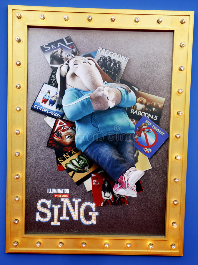 Poster art. At the Los Angeles premiere of `Sing` held at the Microsoft Theater in Los Angeles, USA on December 3, 2016 stock photography