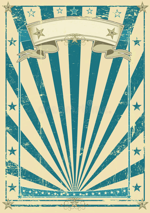 Poster azul retro ilustração royalty free