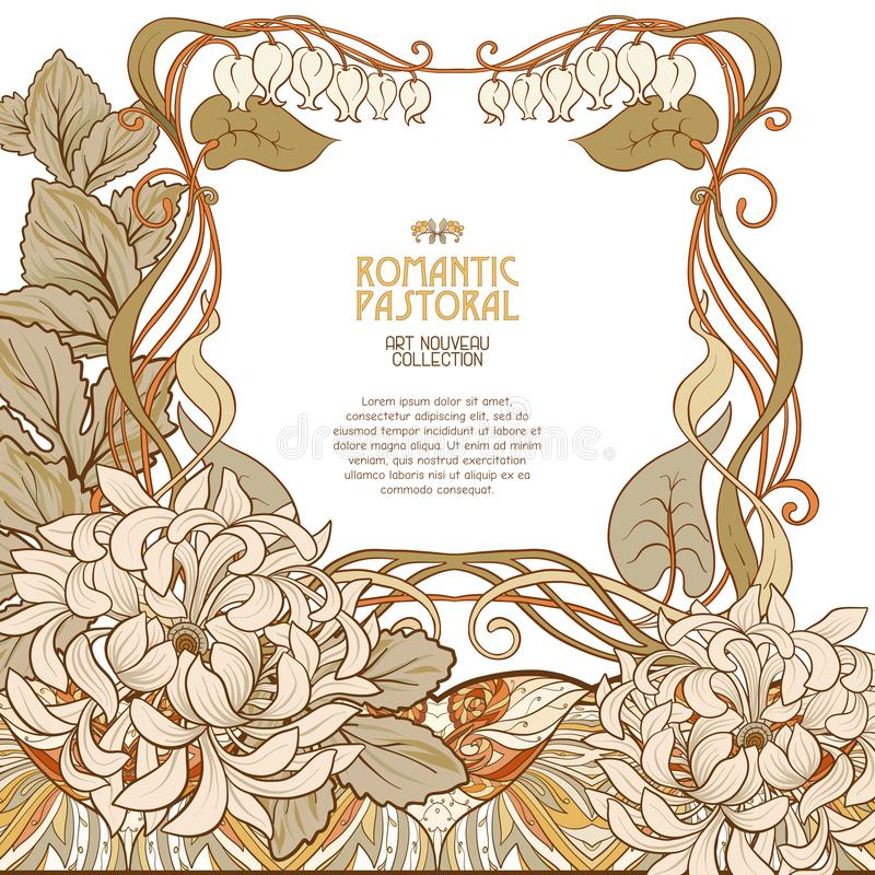 Poster, background with space for text and decorative flowers in art nouveau style. Vintage, old, retro style. Stock vector illustration vector illustration