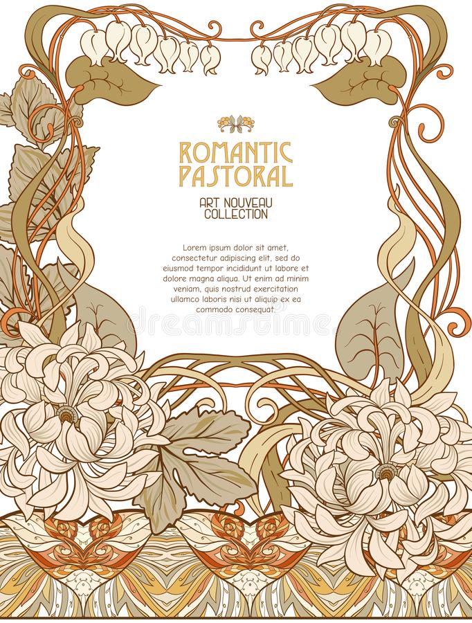 Poster, background with space for text and decorative flowers in art nouveau style. Vintage, old, retro style. Stock vector illustration royalty free illustration