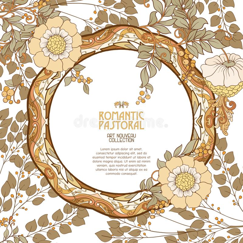 Poster, background with space for text and decorative flowers in art nouveau style. Vintage, old, retro style. Stock vector illustration stock illustration