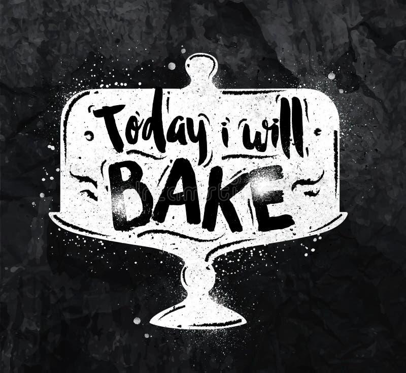 Poster bake chalk vector illustration
