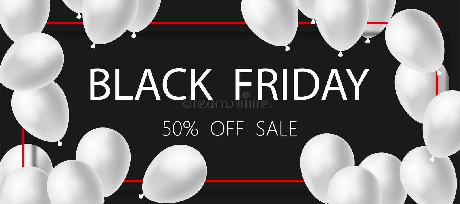 Poster or Banner Black Friday Sale. White balloons on black background. 50 % OFF Sale royalty free illustration
