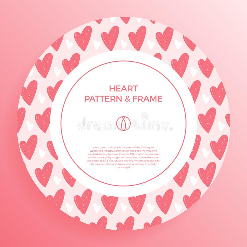 Poster, banner or card Frame Border with love hand draw trendy color heart pattern. Circle Geometric Shape. Decorative romantic. Vector Illustration. Heart stock illustration