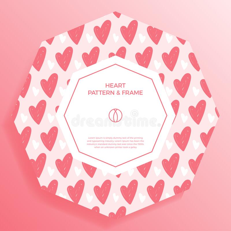 Poster, banner or card Frame Border with love hand draw trendy color heart pattern. Hexagon Geometric Shape. Decorative romantic. Vector Illustration. Heart vector illustration