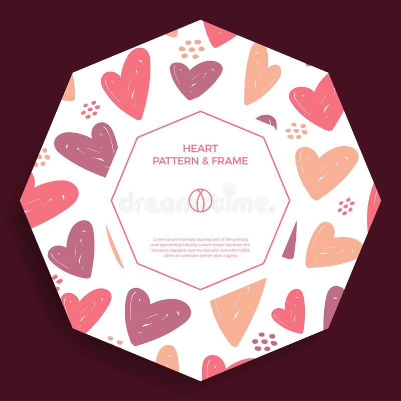 Poster, banner or card Frame Border with love hand draw trendy color heart pattern. Hexagon Geometric Shape. Decorative romantic. Vector Illustration. Heart royalty free illustration