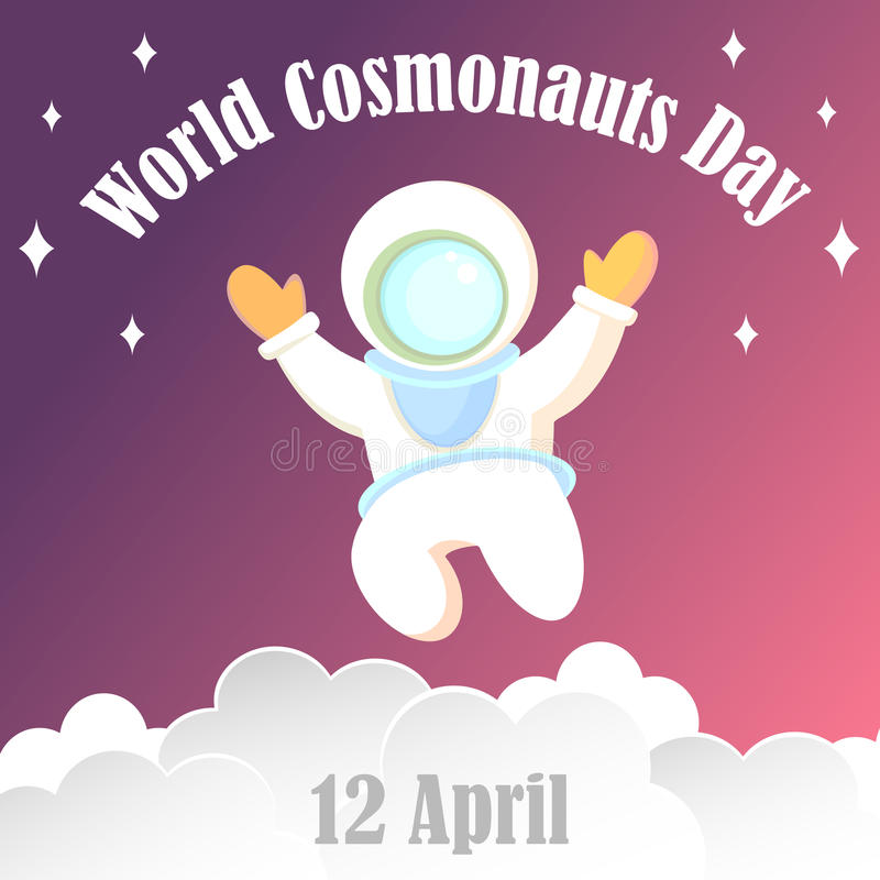 Poster, banner, card for the world cosmonauts day. The astronaut in a white diving suit and a large helmet. Poster, banner, card for the world day of the vector illustration