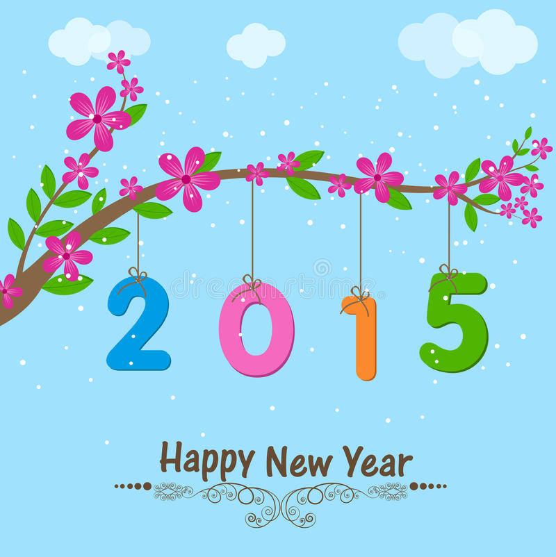 Poster or banner for Happy New Year. Happy New Year 2015 celebration poster, banner or flyer with a flower branch on sky blue background vector illustration
