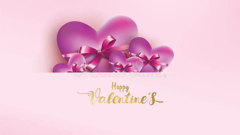 Poster and banner with heart and lettering Happy Valentine Day on pink background. Wallpaper love concept for Valentines Day. Sweet design vector illustration